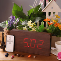 Wholesale Creative Remote Control Alarm LED Digital Wood Wooden Clock Temperature Display Voice Sound Activated DC6V Calendar Despertador order lt no