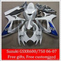 Precio de Suzuki gsxr750 fairing-Pearl White Gray carenados Kit para Suzuki GSXR 2006 2007 600 GSXR 750 con regalos GSX-R600 GSX-R750 06 07 K6 GSXR600 GSXR750