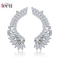 angle alphabet - Teemi Women s Charming Trendy Personality Antiallergic Sterling Silver Pin Luxury Cubic Zircon Angle Wings Women Chandelier Earrings