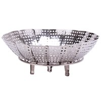 plates - New Stainless steel multifunctional steamer plate silver magic retractable folding steaming fruit plate disk QB679584