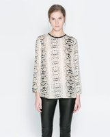 Wholesale 2014 Fashion Snakeskin Pattern Printed Chiffon Blouse WB003