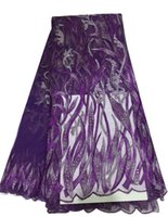 ash wedding - African embroidered mesh lace fabric with crystal in PURPLE GREY BROWN GREEN ASH Ladies net tulle lace wedding dress fabric yds pc