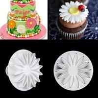 achat en gros de tournesols sucre-3 pièces / set chocolat tournesol Sucre Fleur Moules Fondant Cake Decorating sucre Craft plongeur Cutter Fleur Mold