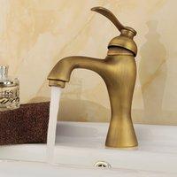 antique handle lamp - Antique Brass Bathroom Faucet Lavatory Vessel Basin Sink Faucet Mixer Tap Water Faucets Single Handle Lamp Style F