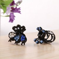 Wholesale Different colors Rhinestone mounted on hair clips metal hair claw small black for girl