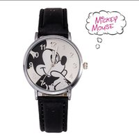 Wholesale Fashion Cartoon Watches Student Watches Reloj Leather Watch Strap Mickey Mouse Children Casual Sports Watches Women Dress Watch