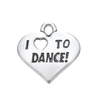 Wholesale New Fashion Easy to diy Engraved Letter I Love To Dance Heart Charm Jewelry jewelry making fit for necklace or bracelet