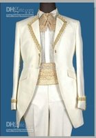 Cheap Free Shipping! Custom-Made Real Sample White with Gold Line Groom Tuxedos Suits For Wedding Evening Formal Men Suit (Jacket+Pants+Tie)