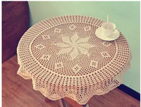 Wholesale cotton crochet beige cm round table cloth for wedding lace table cover towel overlay for home decor