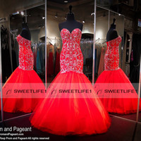 Wholesale Gorgeous Red Mermaid Evening Dresses with Sequins Beaded Corset Back Tulle Ruffles Long Prom Dresses Formal Pageant Evening Gowns