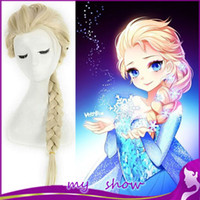Wholesale Cartoon Movie Anna Elsa Girl Hair Children And Adult Cosplay Wigs Hallowmas Blonde and light golden Plait Fluffy Long Hair