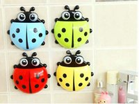 Wholesale Cartoon Cute Ladybug Toothbrush Holder Sucker Suction Hooks Household Items Bathroom Sccessories Set Factory Direct DHL