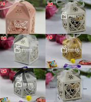 Full Length box - Wedding Supplies Favor Holders Continental Hollow Pierced Heart Tray Lace Wedding Candy Box Laser Creative Favor Holders