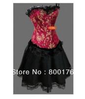 Wholesale Blue Red Burlesque Corset Tutu Skirt Party Fancy Dress Outfit Plus Size Basque S XL