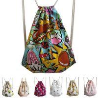 Wholesale New Canvas Backpacks Womens cm School Backpack Fashion Women Drawstring Bag Mochila Feminina Printing Sack