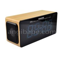 antique wood radio - Best Xmas Gift Freeshipping Wood Color Mini LED Digital Alarm Clock FM Radio USB SD MMC HIFI Speaker