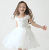 Cheap Children Wedding Dresses 2015 Baby Clothes Girl Ivory Floral Lace Tulle Halter Princess Formal Dress For Birthday Party Photography I4320