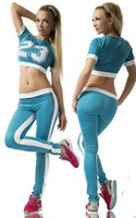 Cheap Alisister New Fashion Blue&black&red suit for Women sport Tracksuit casual female fitness suit t shirt +pants sets