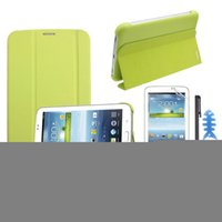 Wholesale Scolour Leather Case Stand Cover For Samsung Galaxy Tab Tablet T210 T211 Film Stylus Reel