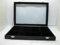tray wooden tray - Black Velvet Necklace Bracelet Jewelry Display Organizer Holder Case Box Rack Tray Stand W Glass Cover