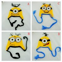 baby earflap hat knitting pattern - 2016 Autumn Winter Baby Infant Knitted Hat Crochet earflap caps Fashion Despicable Me Minions patterns M