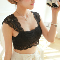 Wholesale 2014 Summer Sexy Lace Crop Tops Pad Hollow Out Lace Soft Women Built in Bra Bustier Tank Tops Ladies Tops Color