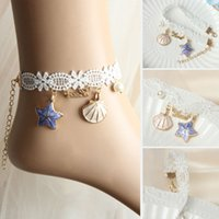 Wholesale 2pcs Handmade Ocean Style Lace Anlet With Shell Star Pendent Ladies Seaside Beach Footchains JFL001