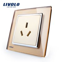 Wholesale Manufacture Livolo New Style Socket and Plug Luxury Crystal Glass Three pin Socket VL W2C1B