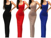 Cheap 2014 SEXY SOLID TANK BASIC SCOOP NECK RACERBACK RIBBED CASUAL MAXI SUMMER DRESS LQ4508