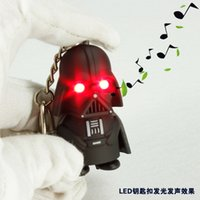 Wholesale Star Wars Darth Vader Keychains Cartoon Anime Movie Accessories LED Luminous Keychain colors Lights Key Rings Pendant As Toys Gift ZJ T01