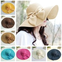 Cheap Brand New Wide Brim Women Sun Hat 2015 Fashion Floppy Cap Summer Hats for Women Bowknot Foldable Women Straw Hat with String