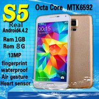 Wholesale Real GB GB S5 i9600 Cell Phone S5 Octa Core Phone Mtk6592 OctaCore Android GHz Smartphone G GPS Waterproof Air Gesture Heart Beat