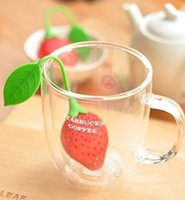 Wholesale Lovely Mini Strawberry Tea Diffuser Desgin Food grade Silicone Loose Tea Leaf Strainer Herbal Spice Infuser Filter Diffuser Strainers