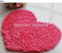 Wholesale Pink Love Heart Shape Floor Mats Fluffy Bath Foot Pad Carpet Anti skid Door Mat