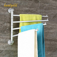 Wholesale 1Pc Space Aluminum Silver Towel Rack Bathroom Swivel Wall Mounted Bath Towel Rack Hanger