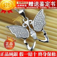 Cheap 2016 Factory wholesale [Get] butterfly identification book S925 genuine sterling silver pendants rhodium full diamond pendant jewelry 581053