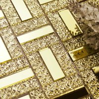 Wholesale GM09 Mirror gold mirror diamond puzzle background bar first door tile wall stickers mosaic