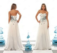 Cheap Peacock Prom Dresses 2015 Sexy A Line Sweetheart Sleeveless Colorful Beading Rhinestones Bodice Zipper Back White Chiffon Hot Dresses Party