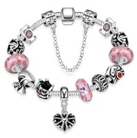Wholesale 10 style pandora charm bracelets European and American popular silver plated beautiful jewelry for women girl mix order