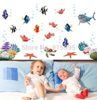Wholesale Finding Nemo Under Sea Shark Fish D Cartoon Waterproof Vinyl Wall Decals Stickers Bathroom Wall Decor Kids Gift