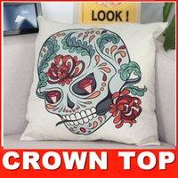 Cheap Creative skull series Cotton Linen throw pillow cover pillow case cushion cover soft home textiles bedding sofa hotel decorations