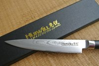 Wholesale 6 quot Japan knife Japanese VG10 Damascus steel kitchen chef knife with forged Black G10 handle