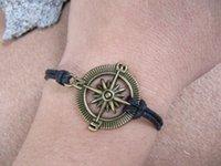 Wholesale 10pcs compass bracelet Steering wheel compass nautical pirate mens bracelet leather bracelet