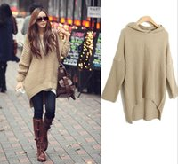 Wholesale Long Batwing Sleeve Hooded Sweaters Women Fashion Autumn Winter Loose Pullovers Knitted Cardigans Sweater Dress Tricotado