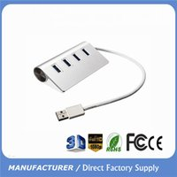 Wholesale 4 Port USB3 HUB High Quality Super Speeed Silver USB HUB for iMac MacBook PC tabletTransmission Devices Support TB