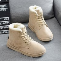 Cheap Autumn and winter boots snow boots female cotton-padded shoes women's shoes flat heel plus velvet thickening short scrub lacing