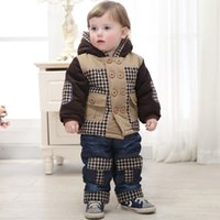 Wholesale New boys winter clothing suit set warm down jacket pants long sleeve coat high quality sticken coat years