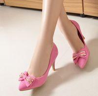 pu shoes - Charming Kitten Heel Women Metal Bowknot Pointed Toe PU Shoes CM Dress Shoes Bridalmaid Shoes Lady Sandals Shoes Pink Purple Black K3316