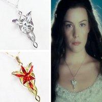 al por mayor elfos de la vendimia-El hobbit los Elfos princesa collar de época Arwen Evenstar cristal colgante de plata para hombres y mujeres collar al por mayor