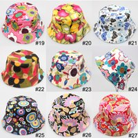 Wholesale hot Bucket sun hat for kids Children floral Hats colors baby girls fashion Grass Fisherman Straw hat A